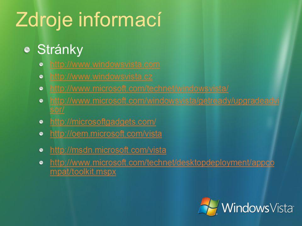 Zdroje informací Stránky http://www.windowsvista.com http://www.windowsvista.cz http://www.microsoft.com/technet/windowsvista/ http://www.microsoft.co