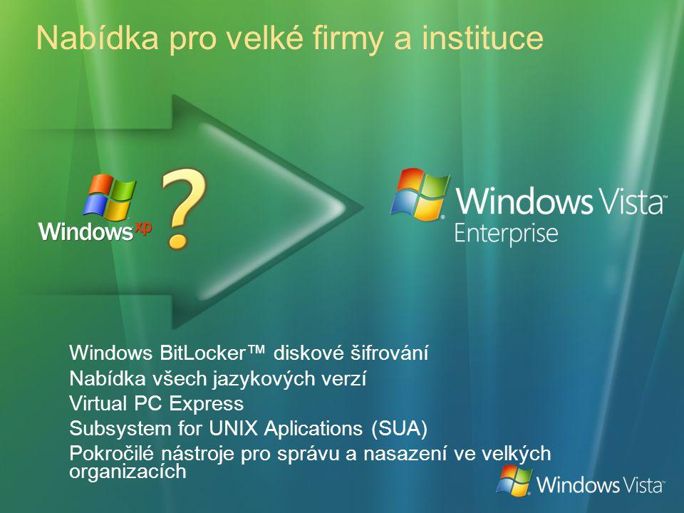Nabídka pro velké firmy a instituce Windows BitLocker™ diskové šifrování Nabídka všech jazykových verzí Virtual PC Express Subsystem for UNIX Aplicati