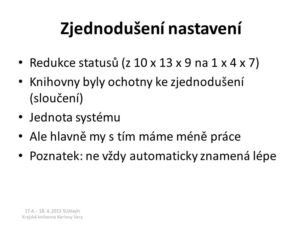 Zjednodušení nastavení Redukce statusů (z 10 x 13 x 9 na 1 x 4 x 7) Knihovny byly ochotny ke zjednodušení (sloučení) Jednota systému Ale hlavně my s t