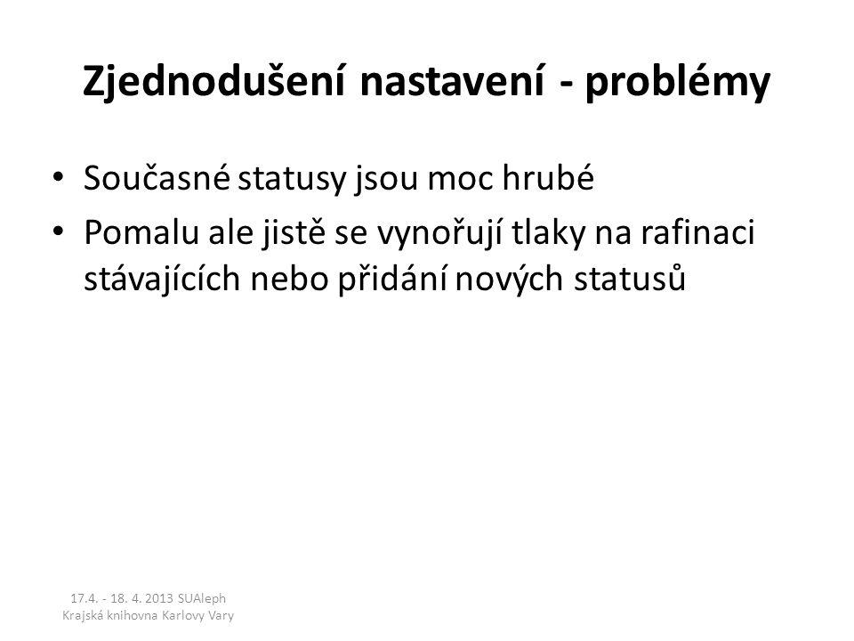 Zjednodušení nastavení - problémy Současné statusy jsou moc hrubé Pomalu ale jistě se vynořují tlaky na rafinaci stávajících nebo přidání nových statu