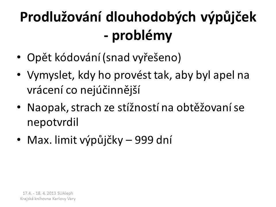 Prodlužování dlouhodobých výpůjček - problémy Opět kódování (snad vyřešeno) Vymyslet, kdy ho provést tak, aby byl apel na vrácení co nejúčinnější Naop