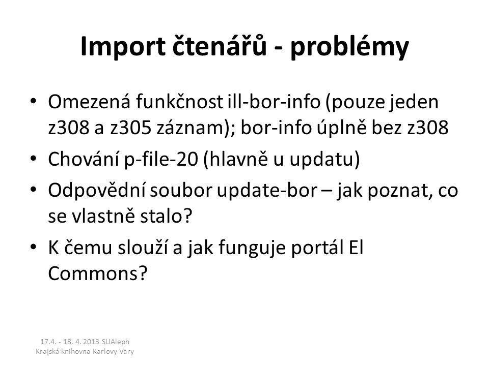 Import čtenářů - problémy Omezená funkčnost ill-bor-info (pouze jeden z308 a z305 záznam); bor-info úplně bez z308 Chování p-file-20 (hlavně u updatu) Odpovědní soubor update-bor – jak poznat, co se vlastně stalo.