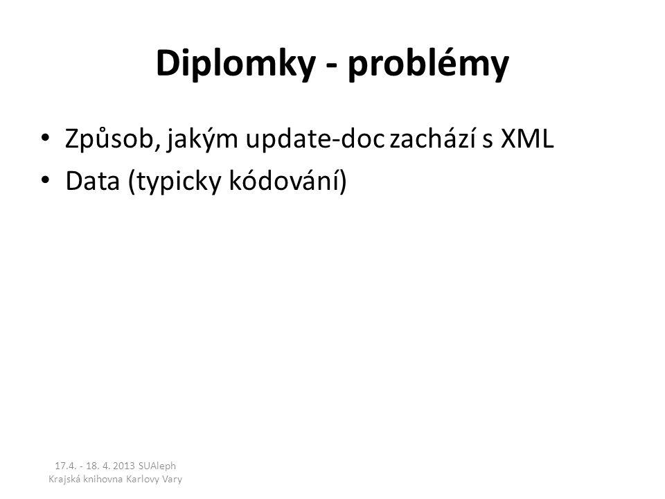 Diplomky - problémy Způsob, jakým update-doc zachází s XML Data (typicky kódování) 17.4. - 18. 4. 2013 SUAleph Krajská knihovna Karlovy Vary
