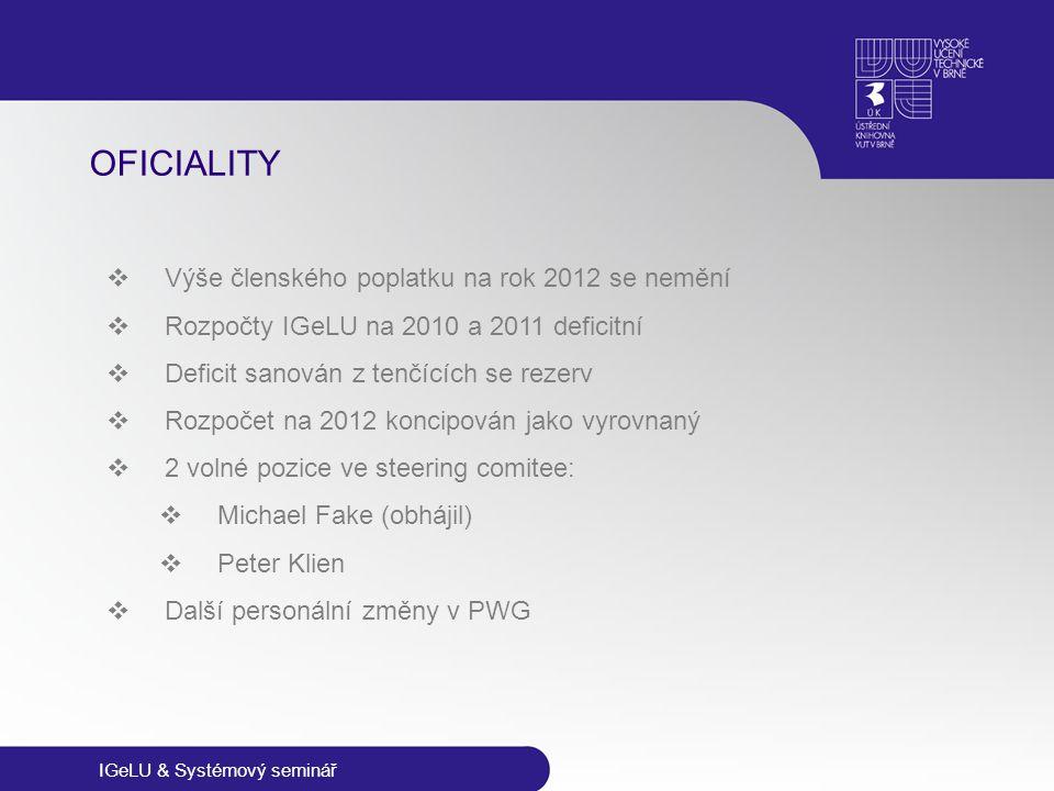 IGeLU & Systémový seminář OFICIALITY  Výše členského poplatku na rok 2012 se nemění  Rozpočty IGeLU na 2010 a 2011 deficitní  Deficit sanován z ten