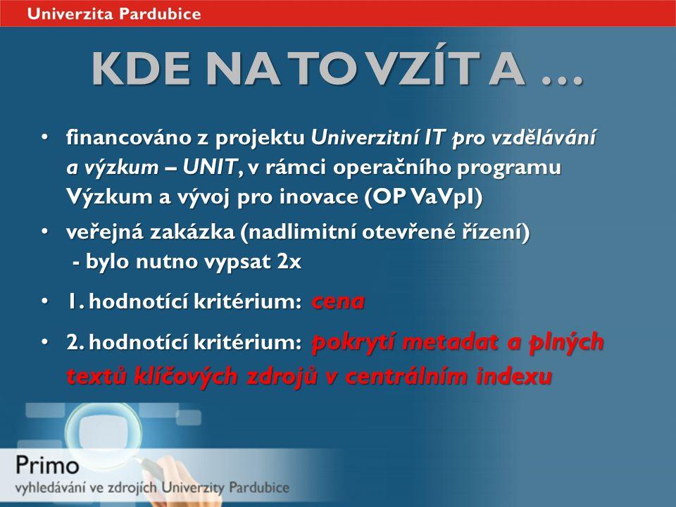 KDE NA TO VZÍT A … financováno z projektu Univerzitní IT pro vzdělávání a výzkum – UNIT, v rámci operačního programu Výzkum a vývoj pro inovace (OP VaVpI) financováno z projektu Univerzitní IT pro vzdělávání a výzkum – UNIT, v rámci operačního programu Výzkum a vývoj pro inovace (OP VaVpI) veřejná zakázka (nadlimitní otevřené řízení) - bylo nutno vypsat 2x veřejná zakázka (nadlimitní otevřené řízení) - bylo nutno vypsat 2x 1.