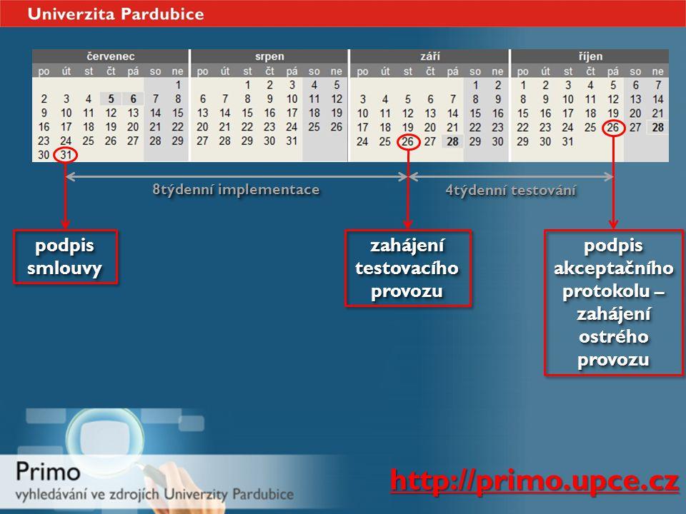 podpis smlouvy zahájení testovacího provozu podpis akceptačního protokolu – zahájení ostrého provozu 8týdenní implementace 4týdenní testování http://primo.upce.cz