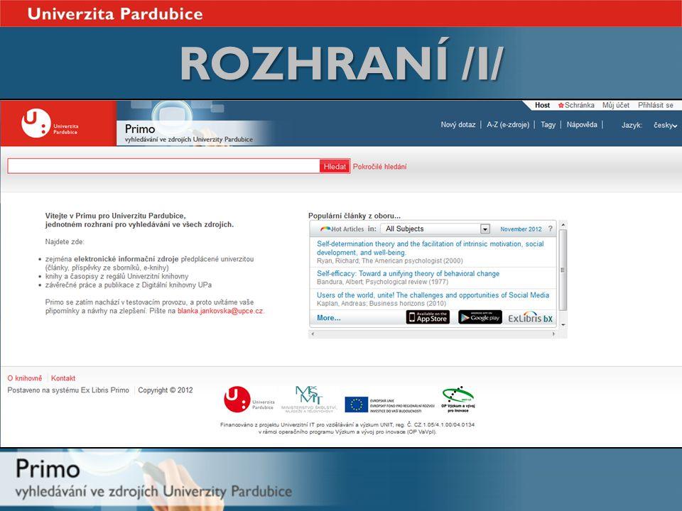 ROZHRANÍ /I/