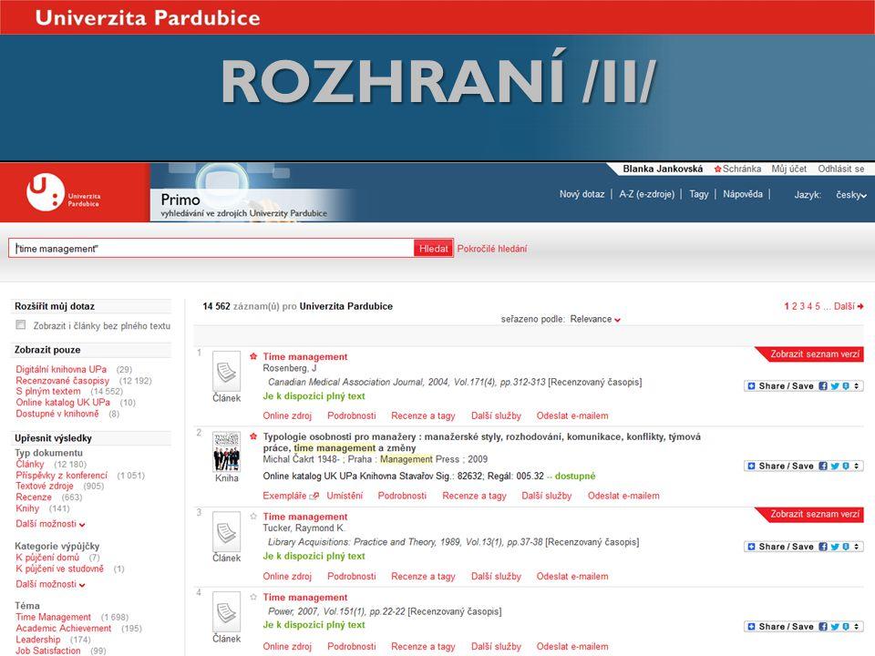 ROZHRANÍ /II/