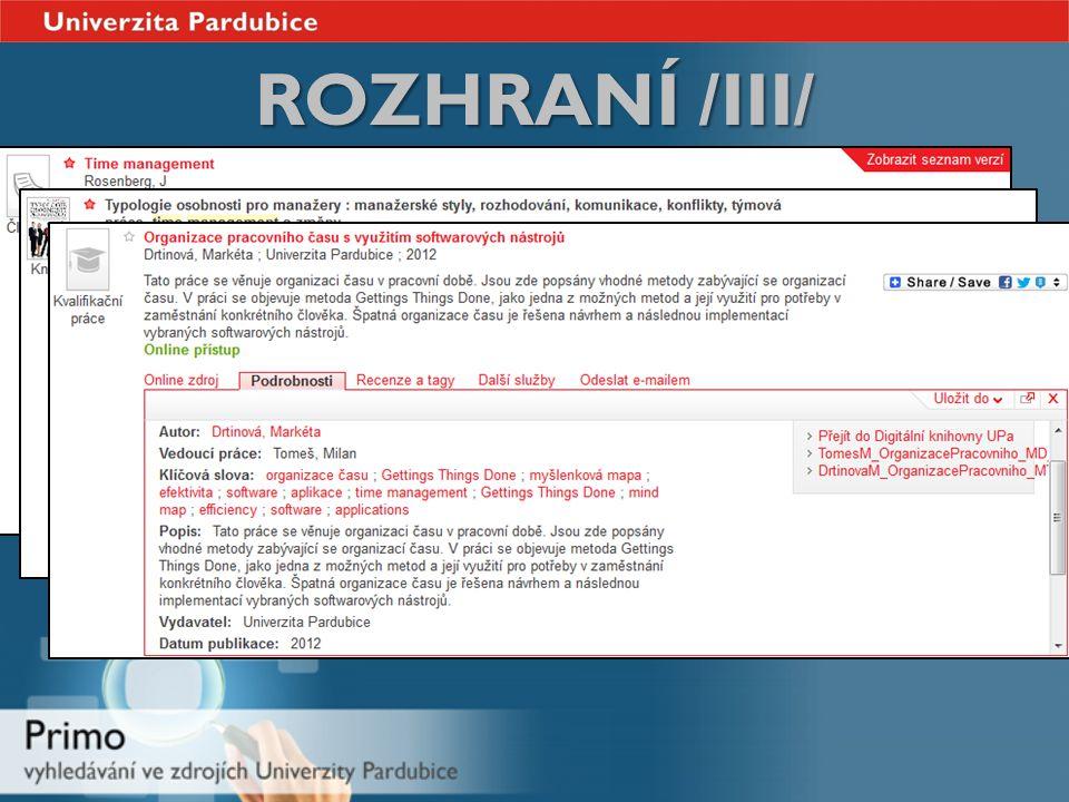 ROZHRANÍ /III/