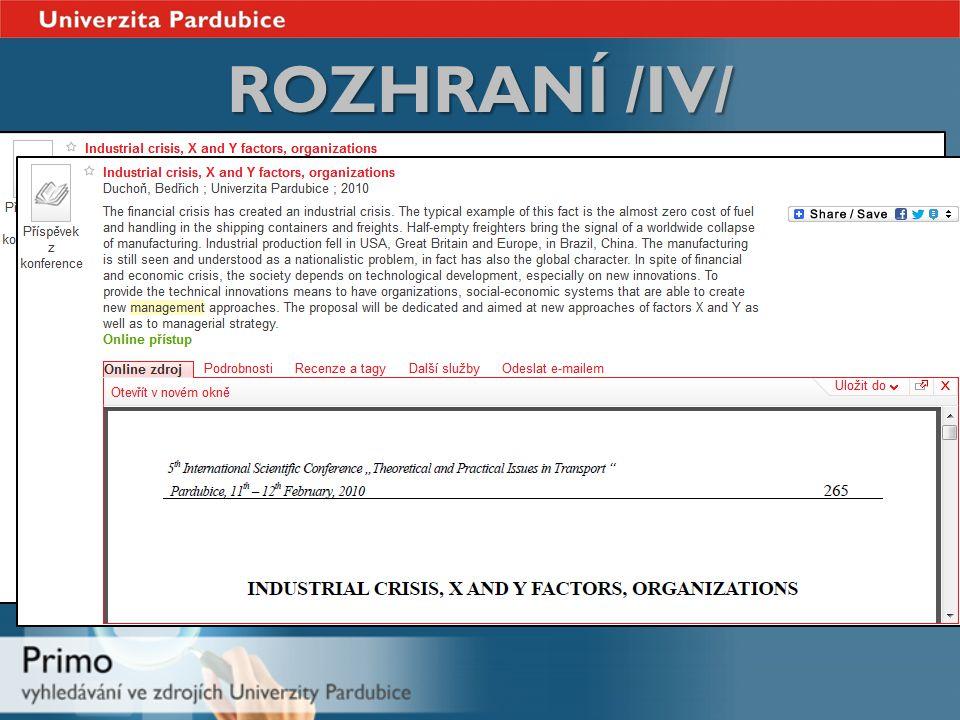 ROZHRANÍ /IV/