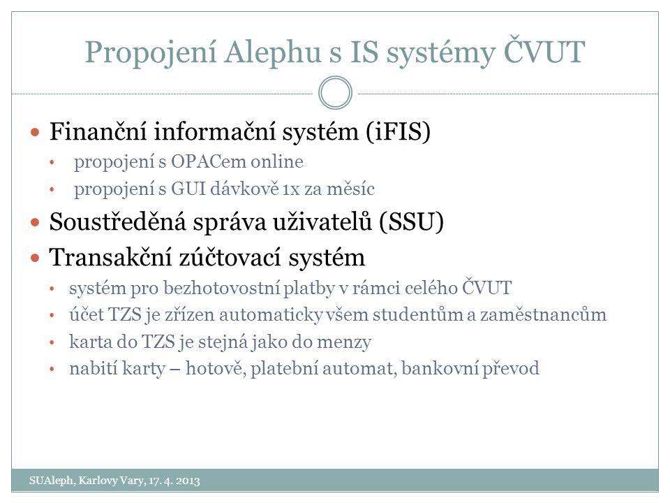 Propojení Alephu s IS systémy ČVUT SUAleph, Karlovy Vary, 17. 4. 2013 Finanční informační systém (iFIS) propojení s OPACem online propojení s GUI dávk