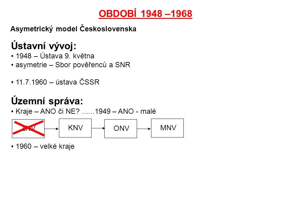 OBDOBÍ 1948 –1968 Asymetrický model Československa Ústavní vývoj: 1948 – Ústava 9. května asymetrie – Sbor pověřenců a SNR 11.7.1960 – ústava ČSSR Úze
