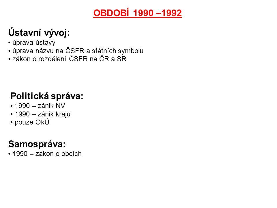 OBDOBÍ 1990 –1992 Ústavní vývoj: úprava ústavy úprava názvu na ČSFR a státních symbolů zákon o rozdělení ČSFR na ČR a SR Politická správa: 1990 – záni