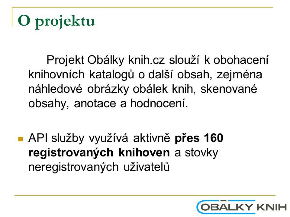 O projektu Projekt Obálky knih.cz slouží k obohacení knihovních katalogů o další obsah, zejména náhledové obrázky obálek knih, skenované obsahy, anota