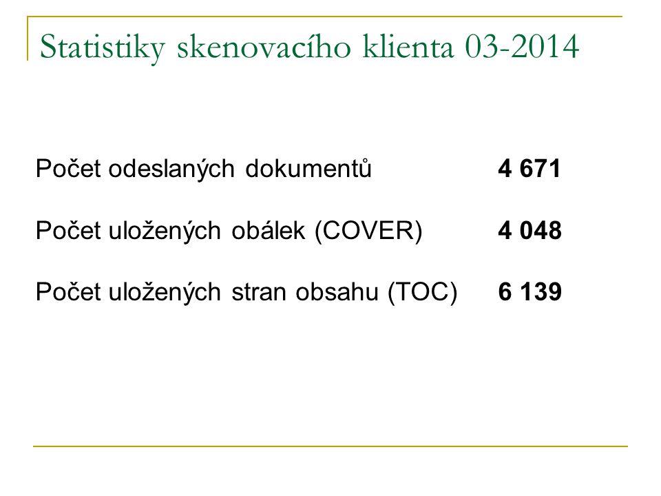 Statistiky skenovacího klienta 03-2014 Počet odeslaných dokumentů 4 671 Počet uložených obálek (COVER) 4 048 Počet uložených stran obsahu (TOC) 6 139