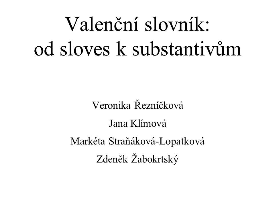 Valenční slovník: od sloves k substantivům Veronika Řezníčková Jana Klímová Markéta Straňáková-Lopatková Zdeněk Žabokrtský