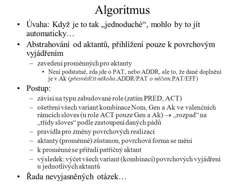 """Algoritmus Úvaha: Když je to tak """"jednoduché"""", mohlo by to jít automaticky… Abstrahování od aktantů, přihlížení pouze k povrchovým vyjádřením –zaveden"""