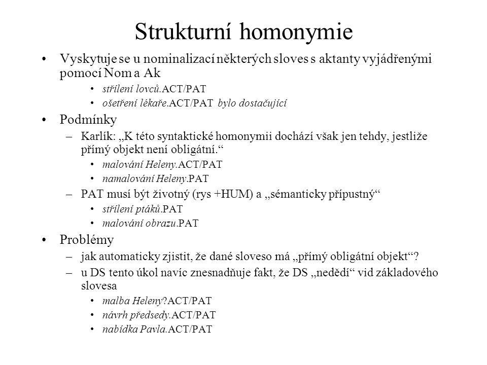 Strukturní homonymie Vyskytuje se u nominalizací některých sloves s aktanty vyjádřenými pomocí Nom a Ak střílení lovců.ACT/PAT ošetření lékaře.ACT/PAT