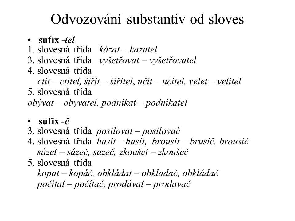 Odvozování substantiv od sloves sufix -tel 1. slovesná třída kázat – kazatel 3. slovesná třída vyšetřovat – vyšetřovatel 4. slovesná třída ctít – ctit