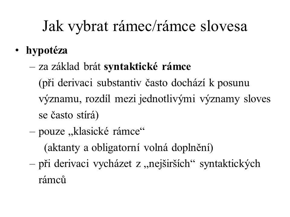 Jak vybrat rámec/rámce slovesa hypotéza –za základ brát syntaktické rámce (při derivaci substantiv často dochází k posunu významu, rozdíl mezi jednotl