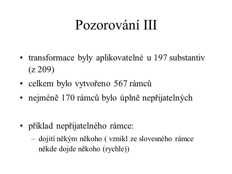 Pozorování III transformace byly aplikovatelné u 197 substantiv (z 209) celkem bylo vytvořeno 567 rámců nejméně 170 rámců bylo úplně nepřijatelných př