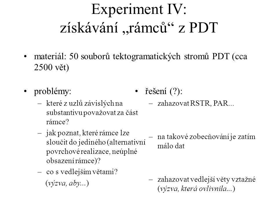 """Experiment IV: získávání """"rámců"""" z PDT materiál: 50 souborů tektogramatických stromů PDT (cca 2500 vět) problémy: –které z uzlů závislých na substanti"""