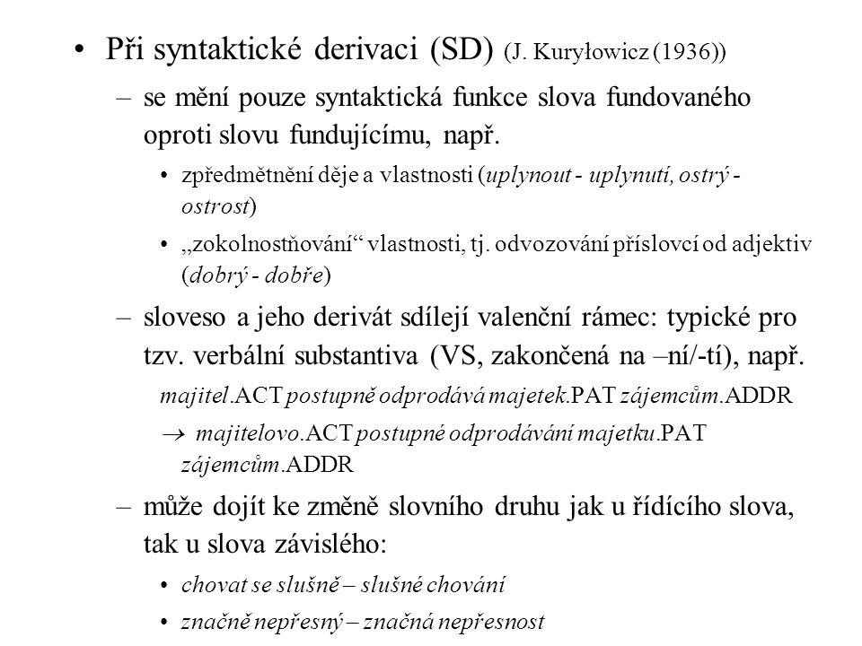 Při syntaktické derivaci (SD) (J. Kuryłowicz (1936)) –se mění pouze syntaktická funkce slova fundovaného oproti slovu fundujícímu, např. zpředmětnění