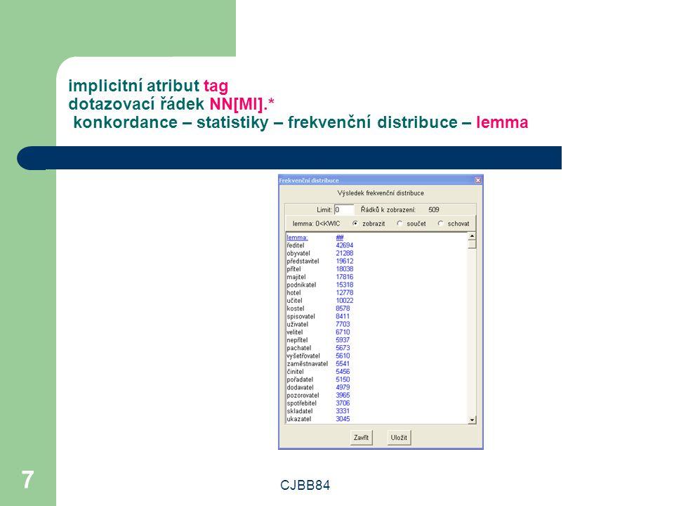 CJBB84 7 implicitní atribut tag dotazovací řádek NN[MI].* konkordance – statistiky – frekvenční distribuce – lemma
