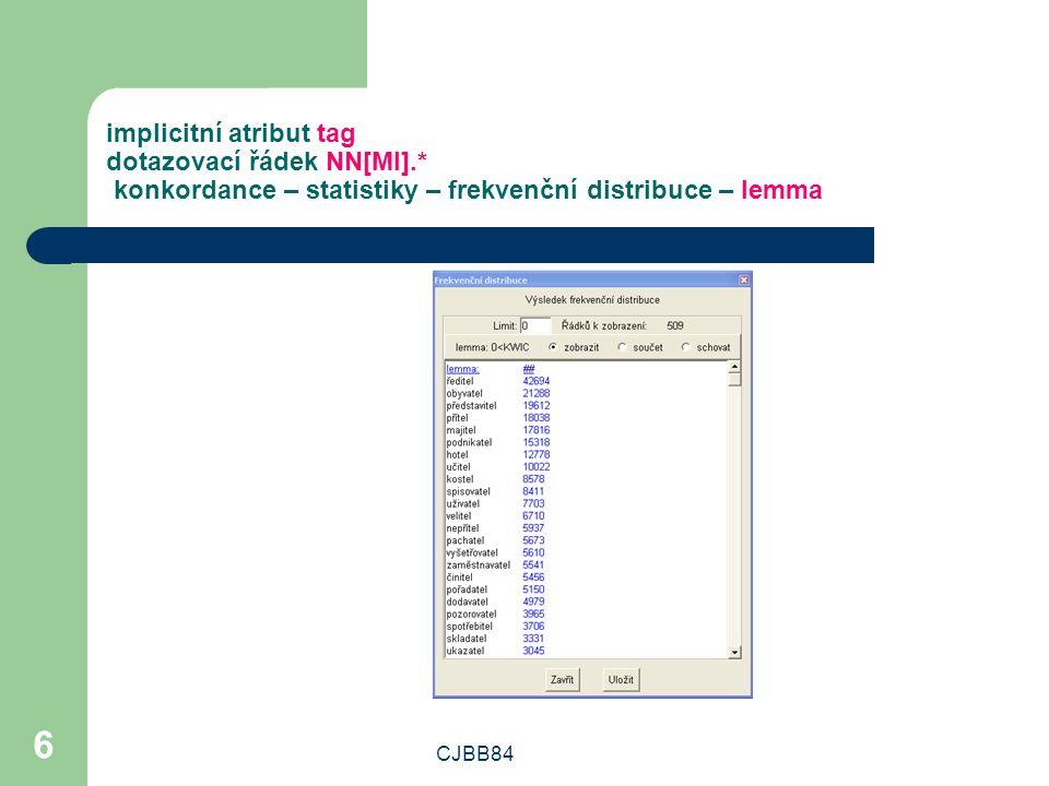 CJBB84 6 implicitní atribut tag dotazovací řádek NN[MI].* konkordance – statistiky – frekvenční distribuce – lemma