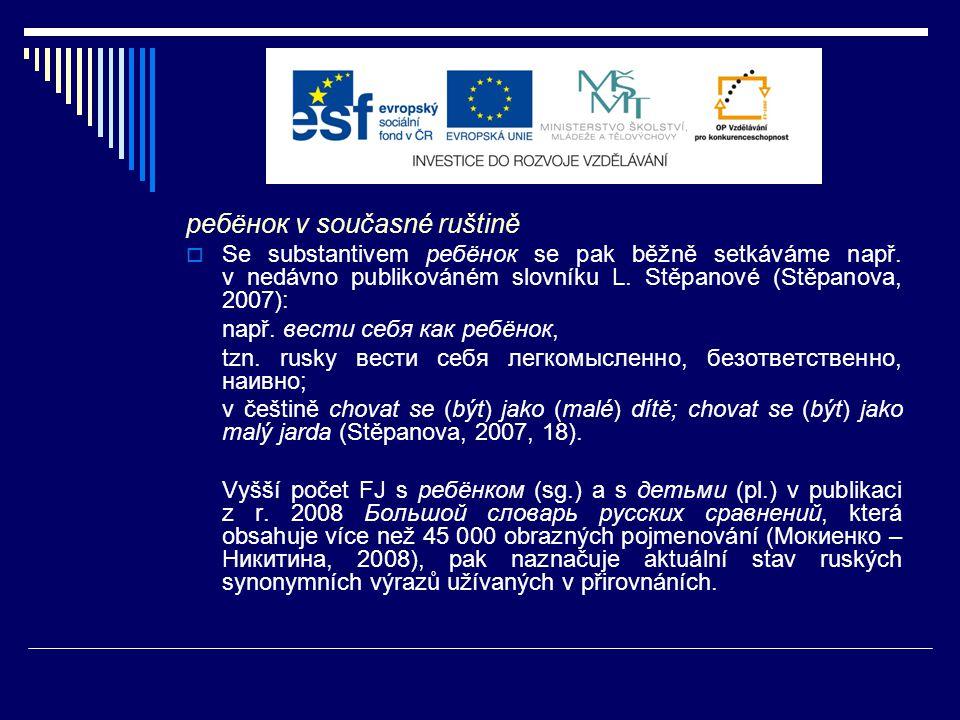 Vyšší počet FJ s ребёнком (sg.) a s детьми (pl.) v publikaci z r.