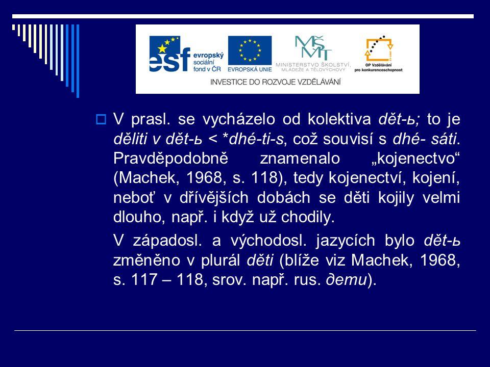  Ve staré češtině se z pohledu FI setkáváme:  nejčastěji se slovem dítě v sing.