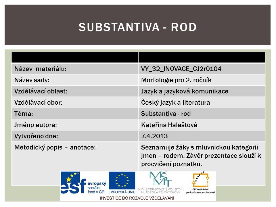 Název materiálu:VY_32_INOVACE_CJ2r0104 Název sady:Morfologie pro 2. ročník Vzdělávací oblast:Jazyk a jazyková komunikace Vzdělávací obor:Český jazyk a