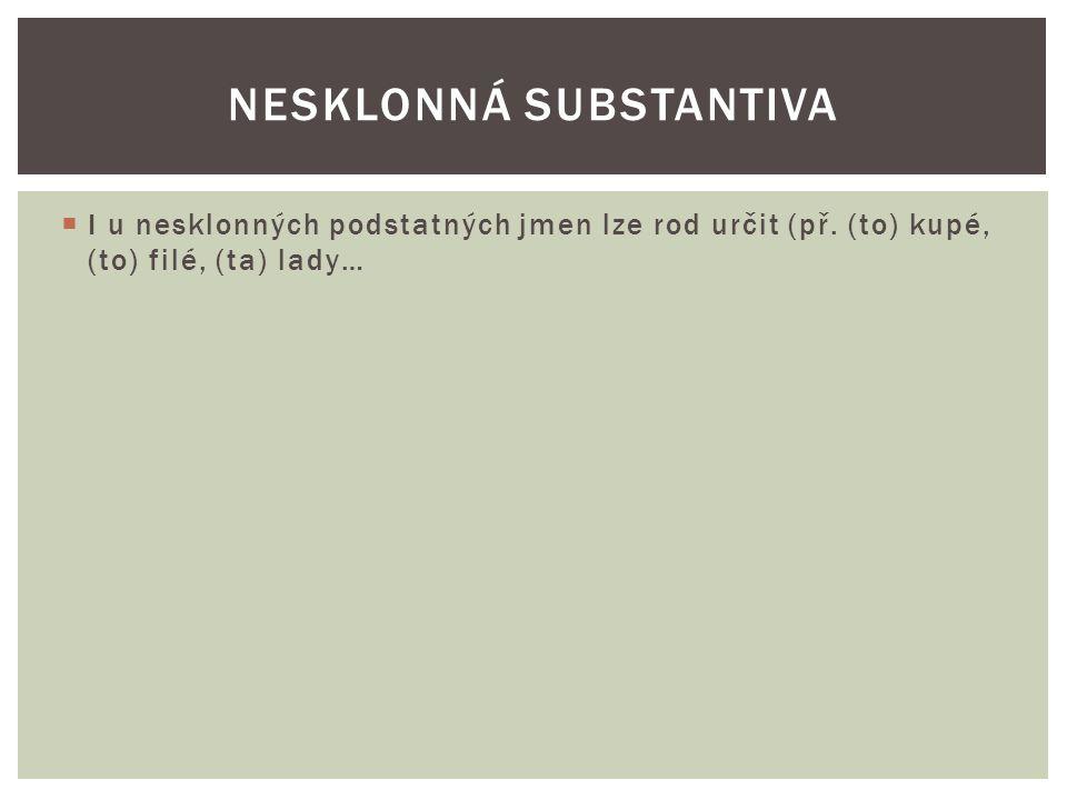  I u nesklonných podstatných jmen lze rod určit (př. (to) kupé, (to) filé, (ta) lady… NESKLONNÁ SUBSTANTIVA