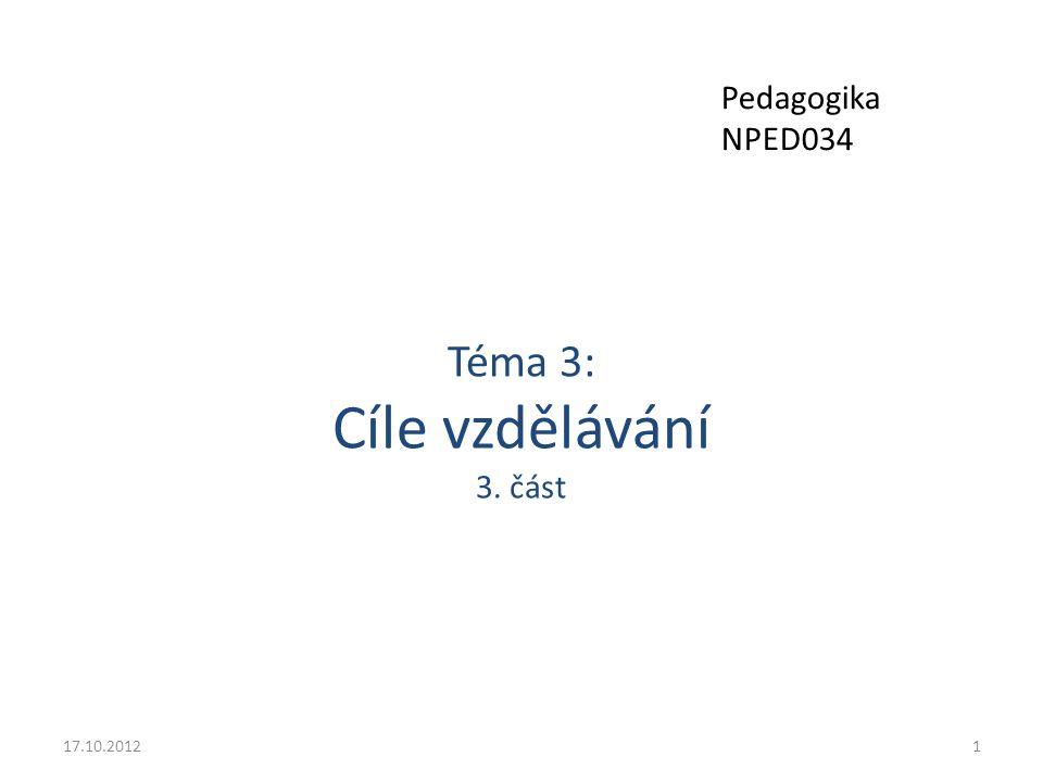 Téma 3: Cíle vzdělávání 3. část 17.10.20121 Pedagogika NPED034