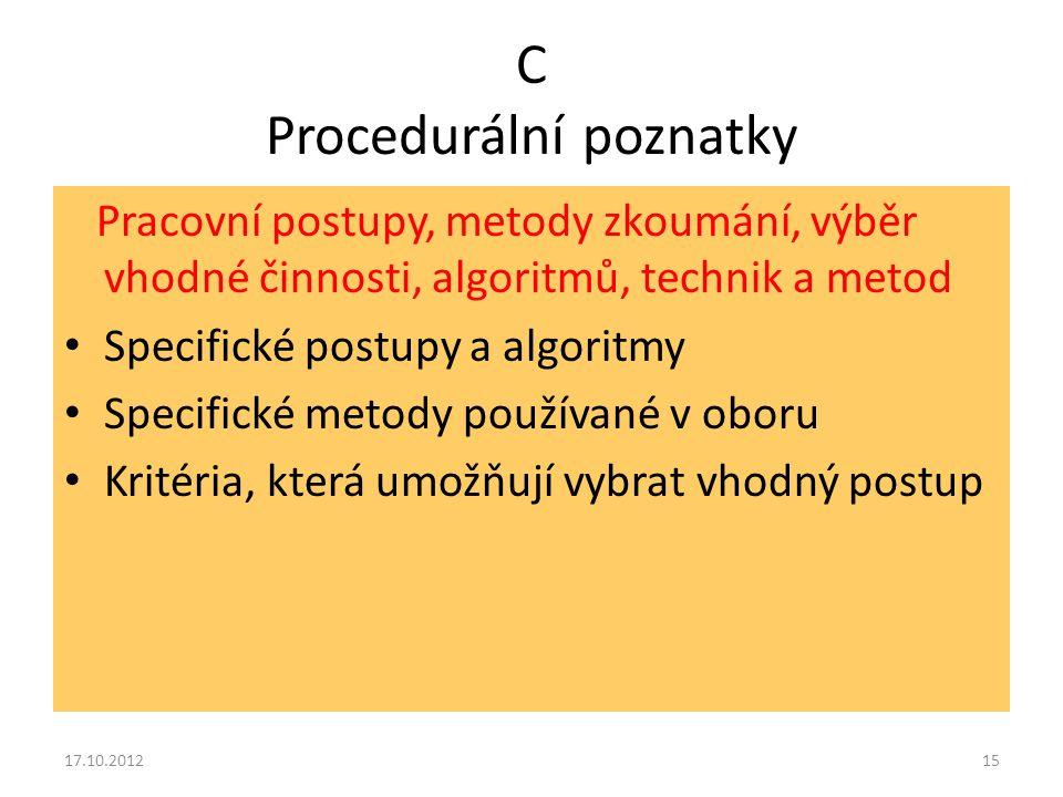 C Procedurální poznatky Pracovní postupy, metody zkoumání, výběr vhodné činnosti, algoritmů, technik a metod Specifické postupy a algoritmy Specifické