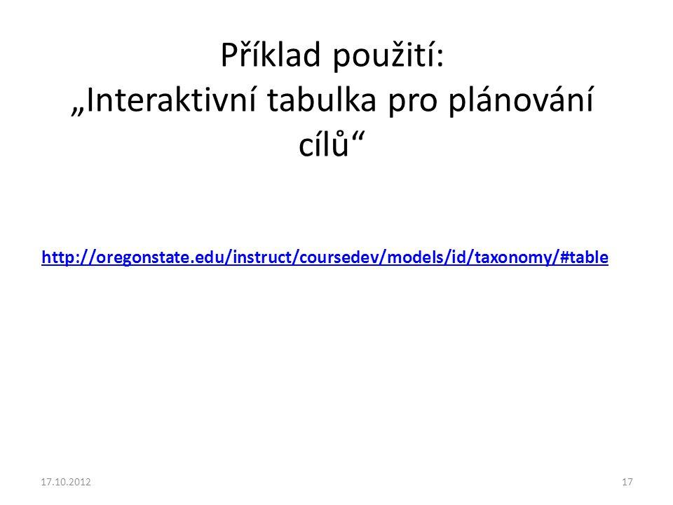 """http://oregonstate.edu/instruct/coursedev/models/id/taxonomy/#table Příklad použití: """"Interaktivní tabulka pro plánování cílů"""" 17.10.201217"""