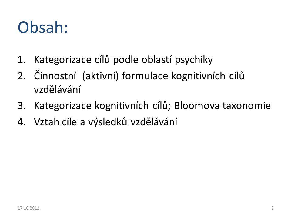 Cíle vzdělávání z hlediska struktury psychiky Kognitivní – znalosti (vědomosti) – intelektové dovednosti Psychomotorické – psychomotorické dovednosti Afektivní – postoje, motivy, hodnoty, hodnotové orientace 17.10.20123