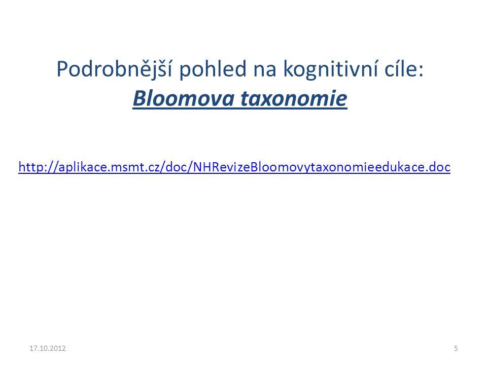 Podrobnější pohled na kognitivní cíle: Bloomova taxonomie http://aplikace.msmt.cz/doc/NHRevizeBloomovytaxonomieedukace.doc 17.10.20125