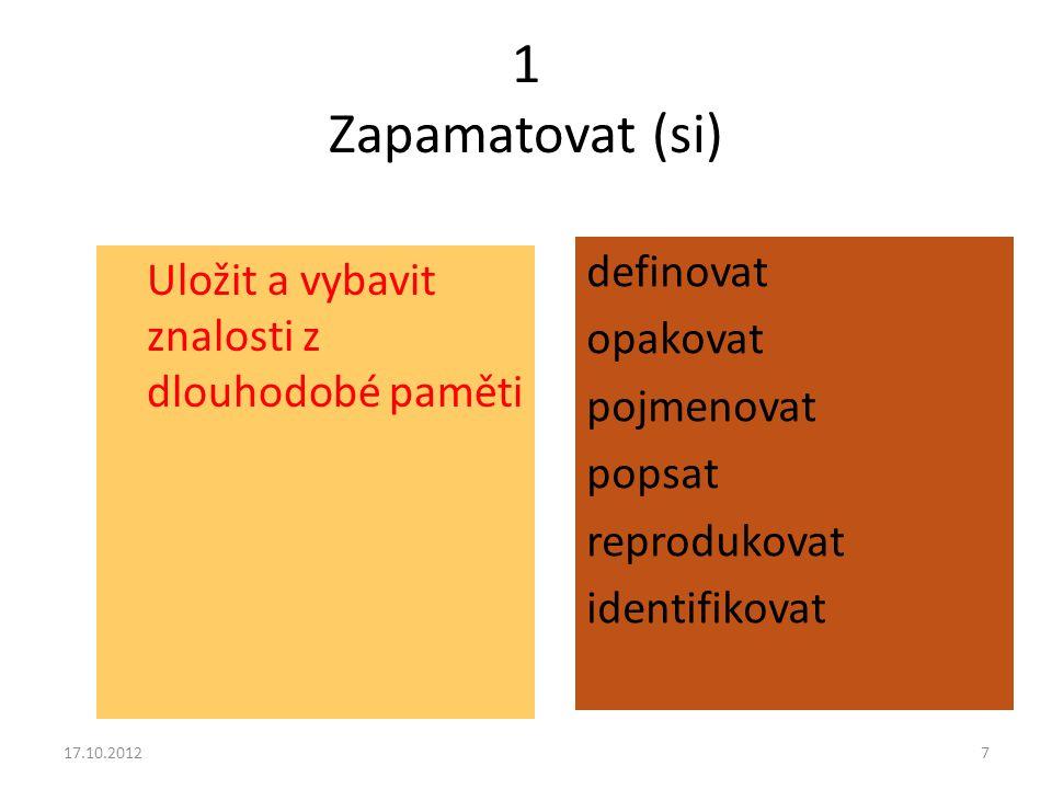 1 Zapamatovat (si) Uložit a vybavit znalosti z dlouhodobé paměti definovat opakovat pojmenovat popsat reprodukovat identifikovat 17.10.20127