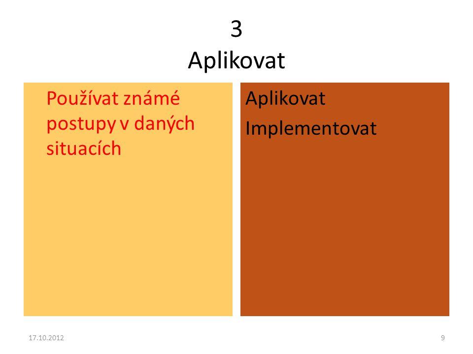 4 Analyzovat Rozkládat celek na podstatné části, určovat jejich vzájemné vztahy a jejich vztah ke struktuře celku nebo jeho účelu Rozlišovat Strukturovat Přisuzovat 17.10.201210