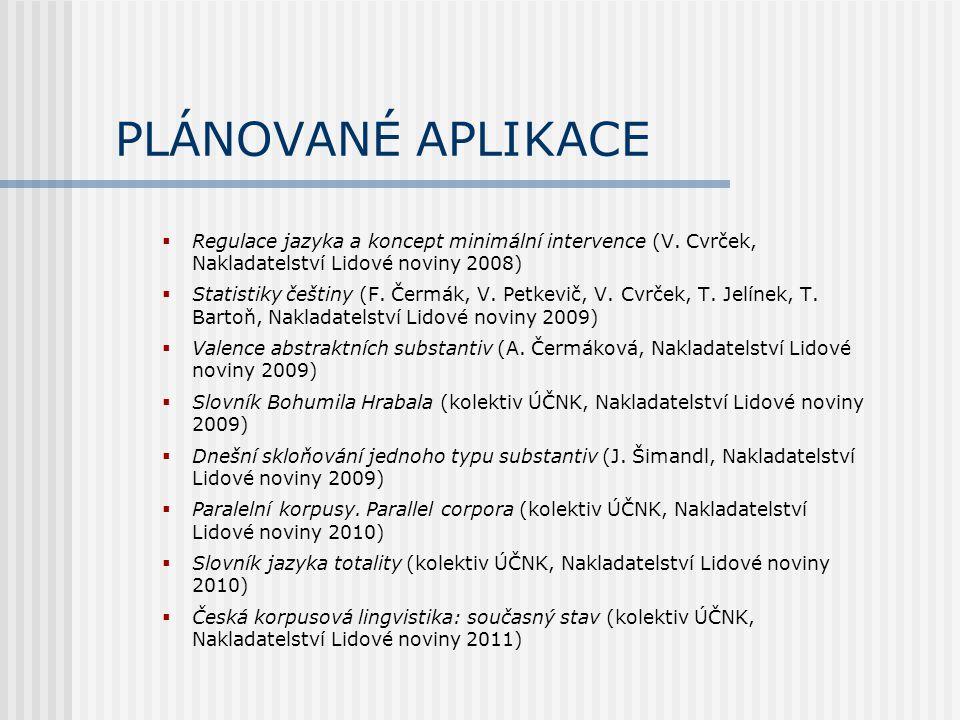 PLÁNOVANÉ APLIKACE  Regulace jazyka a koncept minimální intervence (V. Cvrček, Nakladatelství Lidové noviny 2008)  Statistiky češtiny (F. Čermák, V.