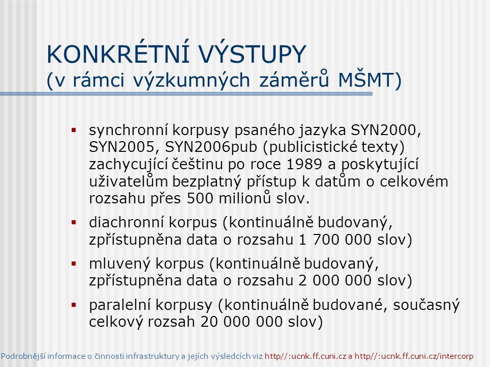 KONKRÉTNÍ VÝSTUPY (v rámci výzkumných záměrů MŠMT)  synchronní korpusy psaného jazyka SYN2000, SYN2005, SYN2006pub (publicistické texty) zachycující češtinu po roce 1989 a poskytující uživatelům bezplatný přístup k datům o celkovém rozsahu přes 500 milionů slov.