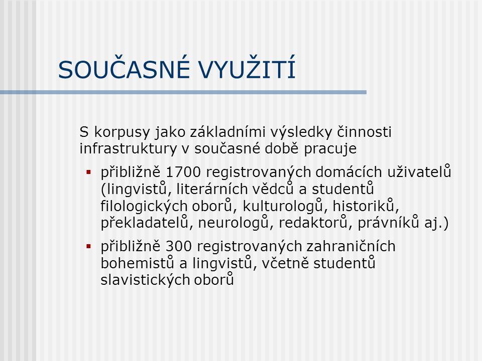 SOUČASNÉ VYUŽITÍ S korpusy jako základními výsledky činnosti infrastruktury v současné době pracuje  přibližně 1700 registrovaných domácích uživatelů (lingvistů, literárních vědců a studentů filologických oborů, kulturologů, historiků, překladatelů, neurologů, redaktorů, právníků aj.)  přibližně 300 registrovaných zahraničních bohemistů a lingvistů, včetně studentů slavistických oborů