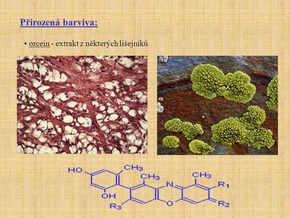 Přirozená barviva: šafrán - extrakt z blizen šafránu (Crocus sativus) - kyselé barvivo - na kolagen