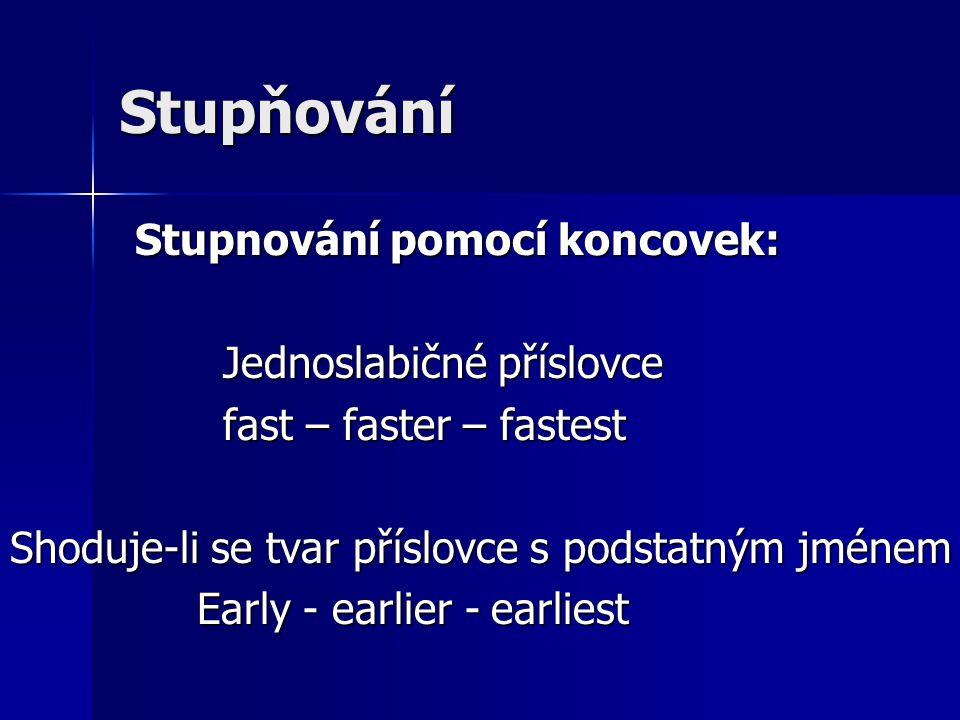 Stupňování Stupnování pomocí koncovek: Stupnování pomocí koncovek: Jednoslabičné příslovce Jednoslabičné příslovce fast – faster – fastest fast – fast