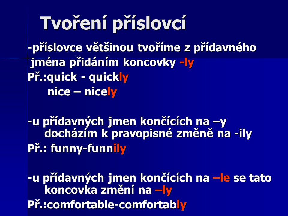 Tvoření příslovcí -příslovce většinou tvoříme z přídavného jména přidáním koncovky -ly jména přidáním koncovky -ly Př.:quick - quickly nice – nicely n