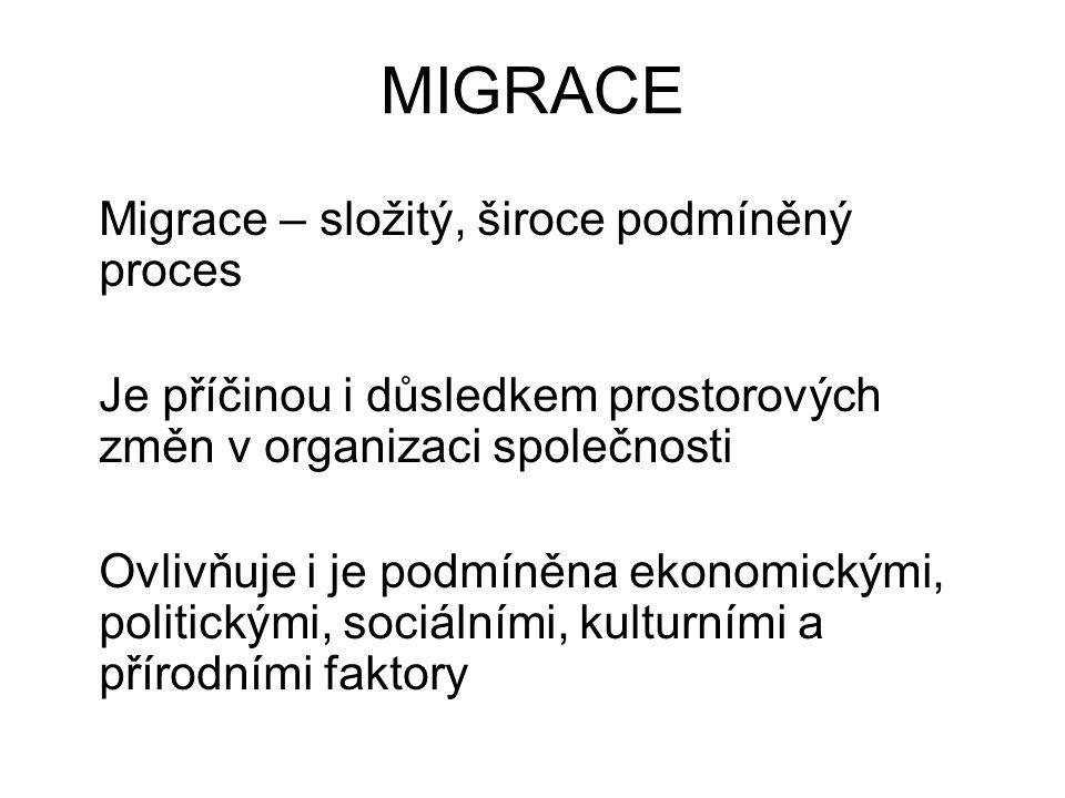 MIGRACE Migrace – složitý, široce podmíněný proces Je příčinou i důsledkem prostorových změn v organizaci společnosti Ovlivňuje i je podmíněna ekonomickými, politickými, sociálními, kulturními a přírodními faktory