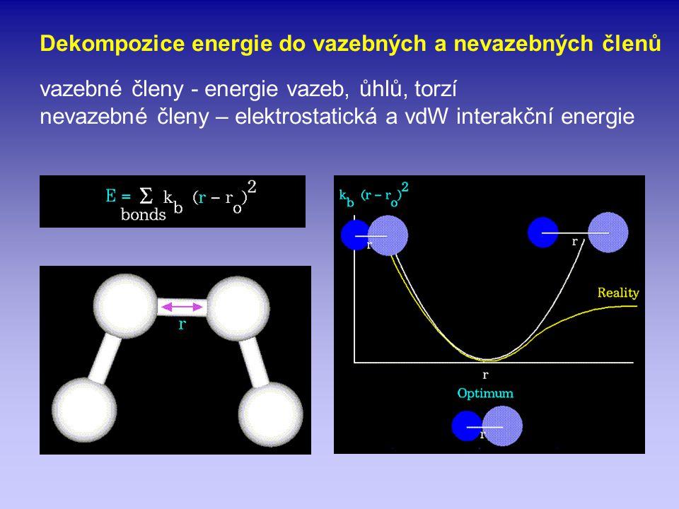 Dekompozice energie do vazebných a nevazebných členů vazebné členy - energie vazeb, ůhlů, torzí nevazebné členy – elektrostatická a vdW interakční ene