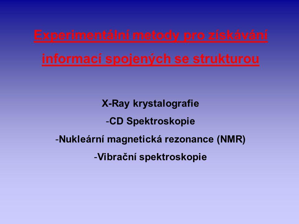 Experimentální metody pro získávání informací spojených se strukturou X-Ray krystalografie -CD Spektroskopie -Nukleární magnetická rezonance (NMR) -Vi