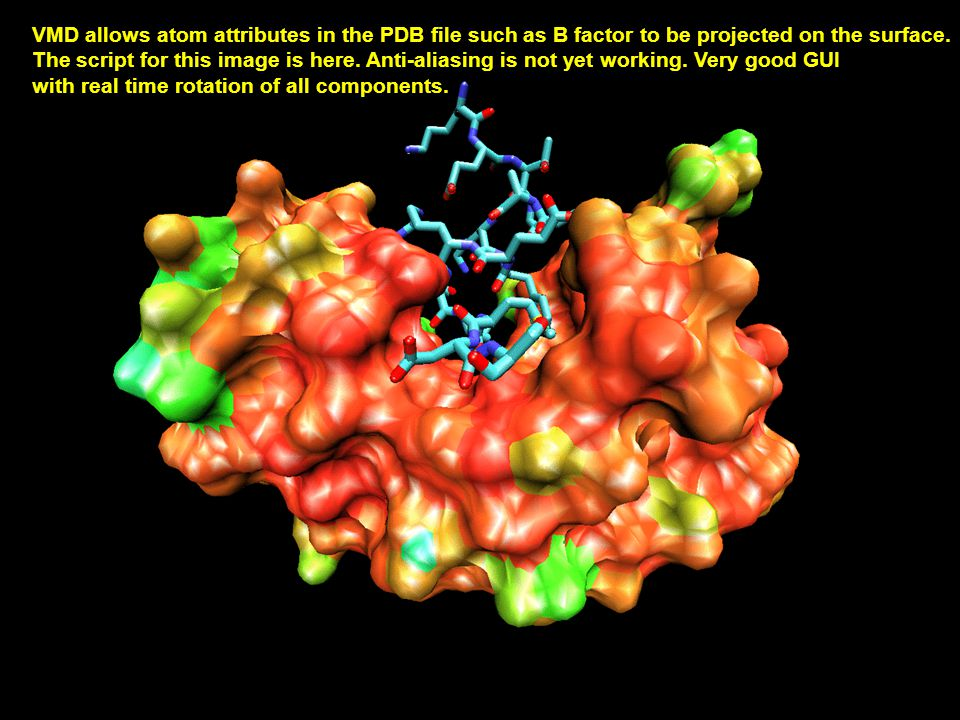 VMD allows atom attributes in the PDB file such as B factor to be projected on the surface. The script for this image is here. Anti-aliasing is not ye